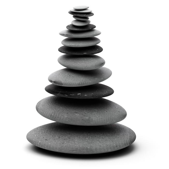 Vinylová Tapeta Tall oblázková hromadu nad bílým pozadím - kameny naskládané - Struktury