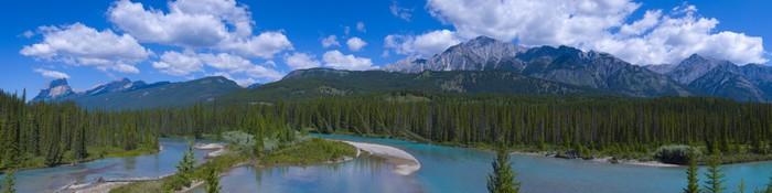 Vinylová Tapeta Panorama Shallow Crystal Blue Mountain River ve městě Banff - Hory