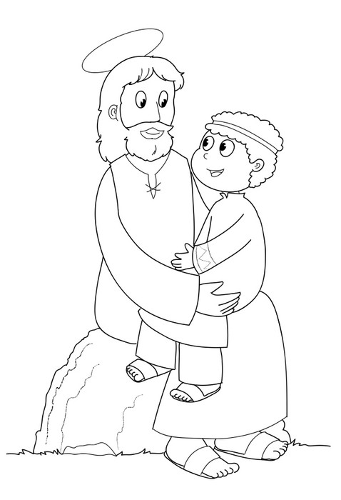 Aufkleber Jesus Christus mit Kind Färbung • Pixers® - Wir leben, um ...