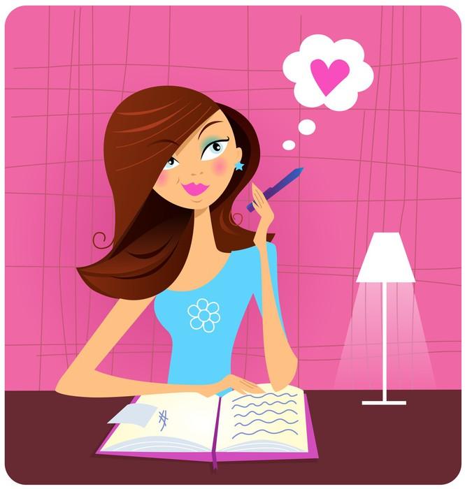 Nálepka Pixerstick Dospívající dívka psát deník a sní o lásce - Vzdělávání