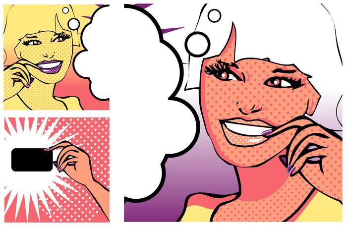 Tableau sur Toile Fille de style BD et de la main avec une carte (version raster) - Thèmes