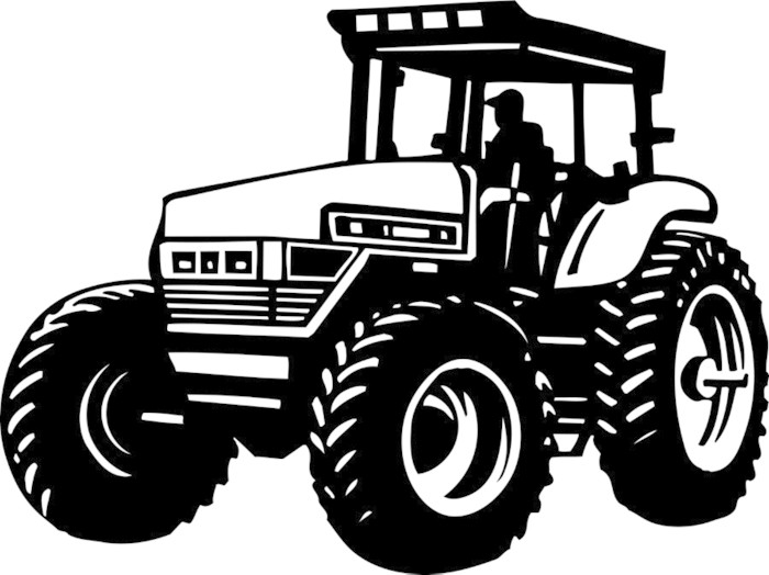 Muddy Tractor Clip Art : Naklejka ilustracja wektora ciągnik vinyl gotowe pixers