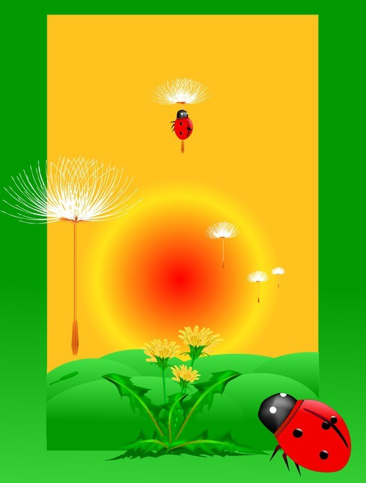 dandelion and ladybug on a green meadow Vector Wall Mural • Pixers ...