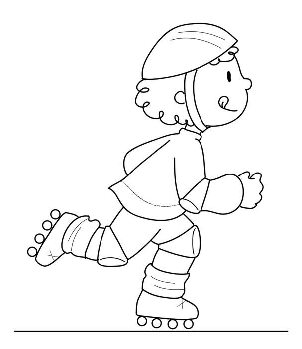 Fotomural Niño en patines en línea. Blanco y negro • Pixers ...