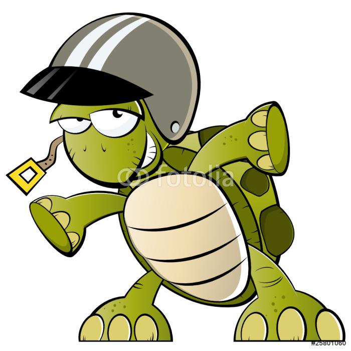 Carta da parati divertente cartone animato racer tartaruga