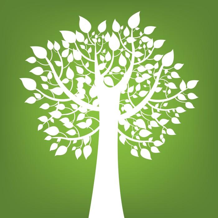 Vinylová Tapeta Abstrakt strom na zeleném pozadí - Přírodní krásy