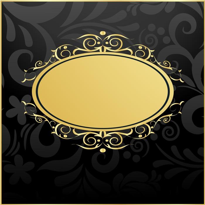 Vinylová Tapeta Retro textilní pozadí se zlatým rámem ve vrcholném stylu - Pozadí