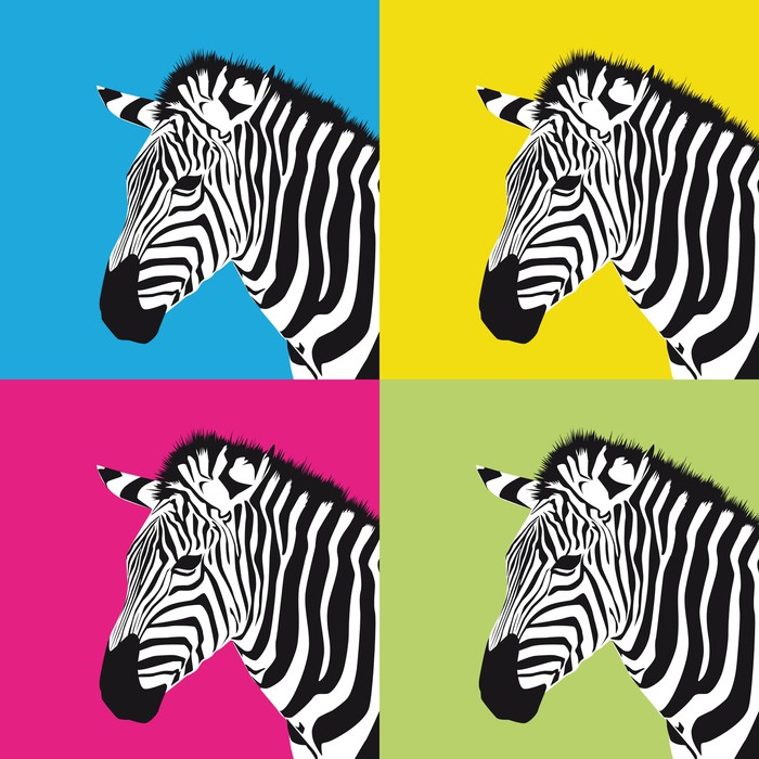 fototapete pop art zebra pixers wir leben um zu ver ndern. Black Bedroom Furniture Sets. Home Design Ideas