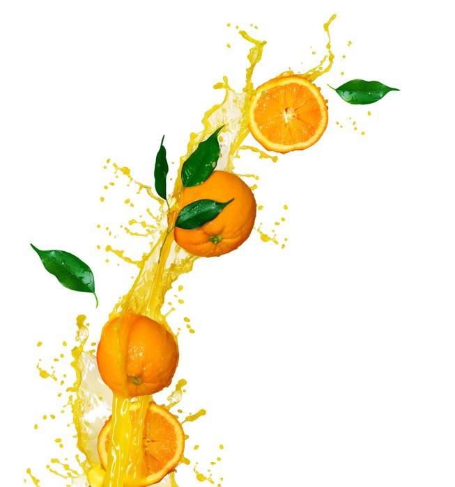Vinylová Tapeta Pomerančová šťáva izolovaných na bílém - Ovoce