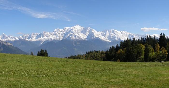 Plakát Panoramatický výhled na Mont Blanc Mayères - Evropa