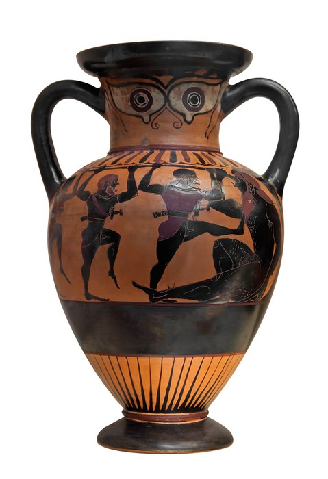Ancient greek vase depicting Ulysses fighting the cyclop isolat Wall ...