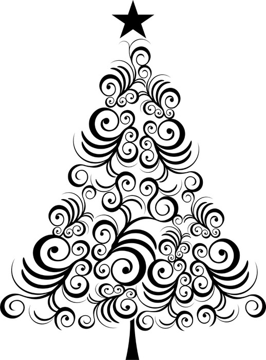 Christmas tree black outline Wall Mural • Pixers® • We ...