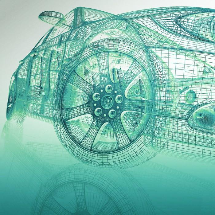 Fototapete 3D-Modell Autos • Pixers® - Wir leben, um zu verändern