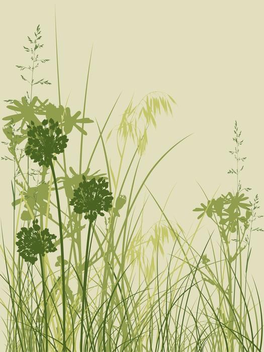 Vinylová Tapeta Zelené trávy na pozadí - Květiny