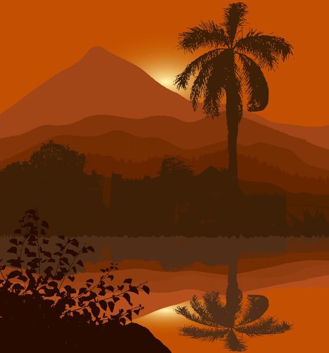 Nálepka Pixerstick Palm Sunset - Oceánie