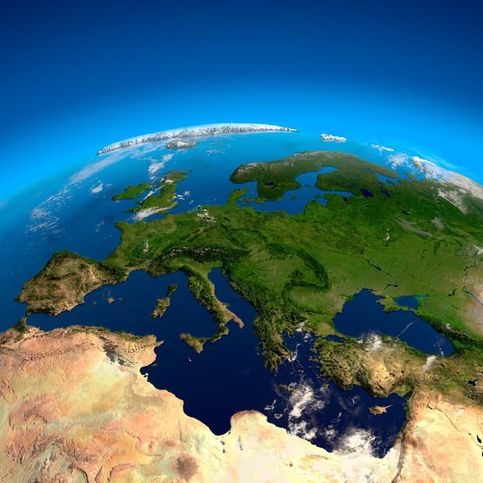Vinylová Tapeta Pohled na Evropu z výšky satelitů - Země