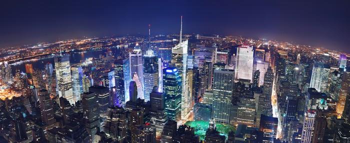 Vinylová Tapeta NEW YORK CITY NIGHT PANORAMA - Amerika