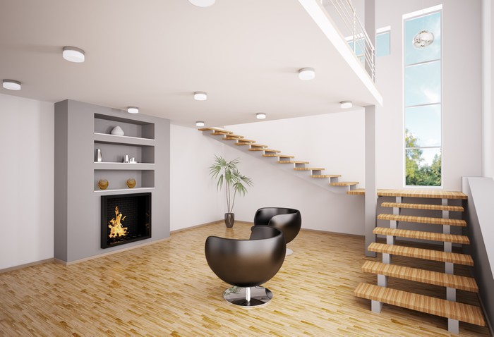 Modern Wohnzimmer Mit Kamin Interior 3d Render Vinyl Wall Mural   Private  Buildings
