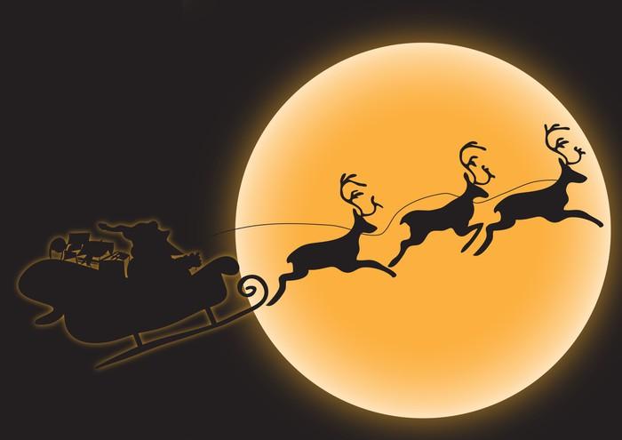 Vinylová fototapeta Weihnachtsmann mit Schlitten und Rentieren. - Vinylová fototapeta