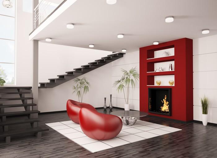 Modern Interior Wohnzimmer Mit Kamin Und Treppe 3d Render Sticker