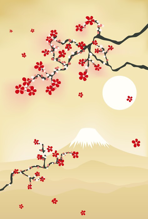 Japanese Cherry Blossom Wall Mural • Pixers® • We live to change