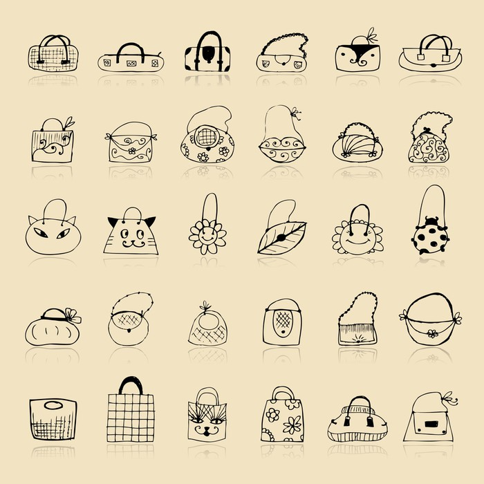 Fototapete Kollektion von Taschen, Skizze, Zeichnung für Ihre ...