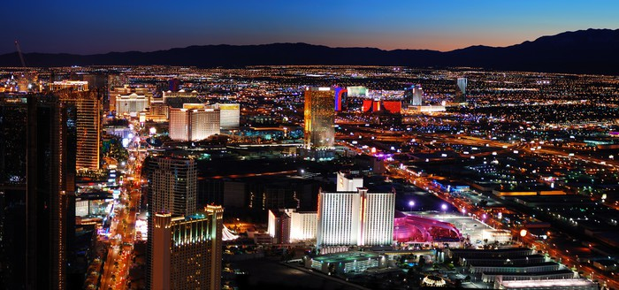 Las Vegas Skyline Panorama At Night Wall Mural   Vinyl Part 55
