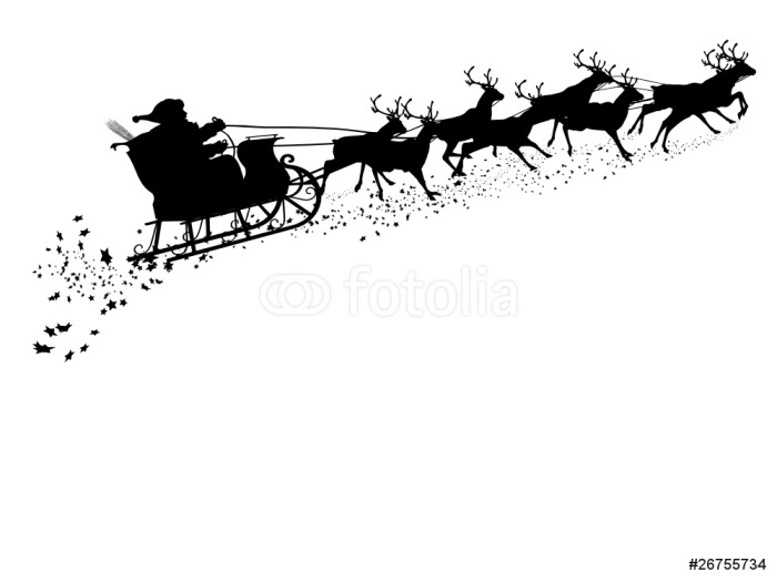 Plakát Santa Claus s sobů saních - Silhouette - Svátky