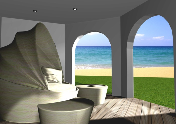 Fototapete 3d überdachte Terrasse Mit Meerblick