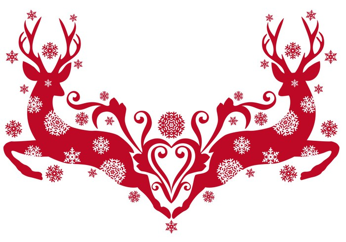 Christmas Deer With Snowflakes Vector Wall Mural Pixers