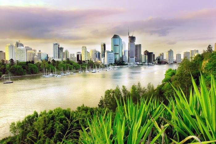 Vinylová Tapeta Brisbane večer - Město