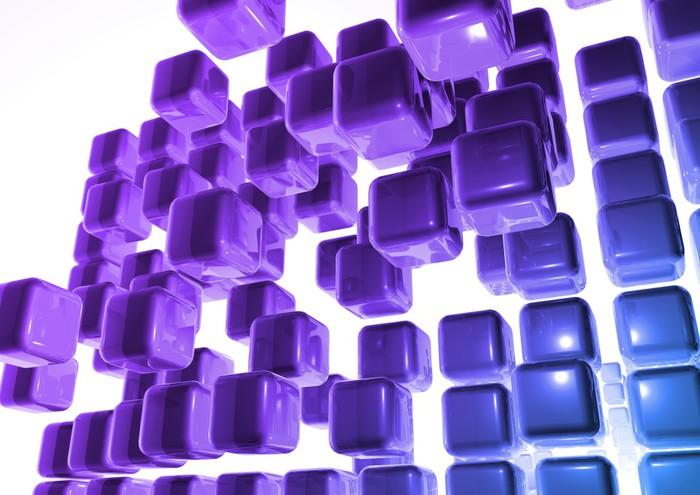 Vinylová fototapeta Space stěny krychle lila et bleu - Vinylová fototapeta