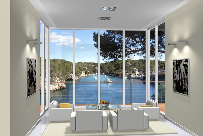 sticker 3d rendu salon baie vitr e pixers nous vivons. Black Bedroom Furniture Sets. Home Design Ideas