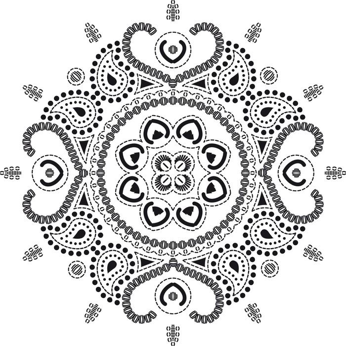 fotomural en blanco y negro vector mandala pixers