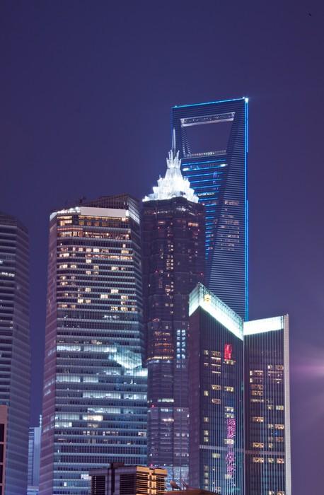 Nálepka Pixerstick Šanghaj Night - Bund - Asijská města