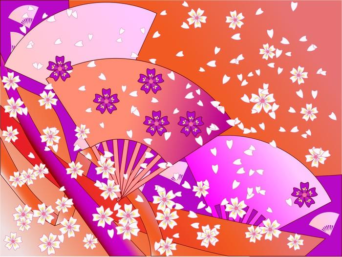 Vinylová Tapeta Vektorové japonské fanoušky, stuhy a květiny - Roční období