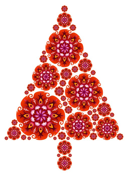 Sapin de Noël en Mandalas - Rouge Wall Mural • Pixers® • We live to ...