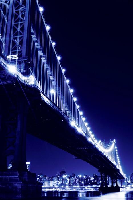 Vinylová Tapeta Manhattan Skyline a Manhattan most v noci, New York City - Město