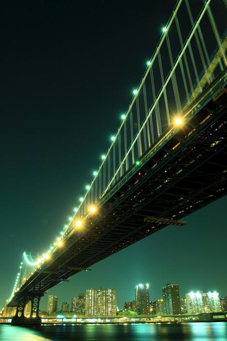 Vinylová Tapeta Manhattan Skyline a Manhattan most v noci, New York City - Brooklynský Most