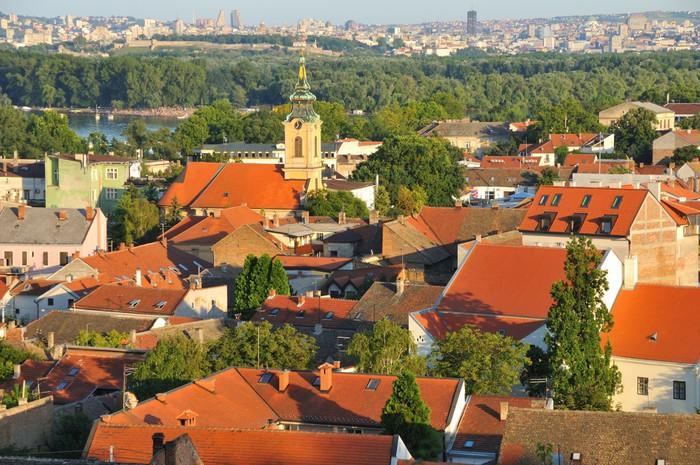 Vinylová Tapeta Pohled na Nikolajevský kostela v Zemun s panoramatem Bělehradu - Evropa