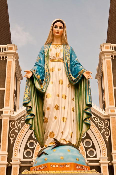 Virgin mary statue at Chantaburi province Wall Mural • Pixers® • We ...