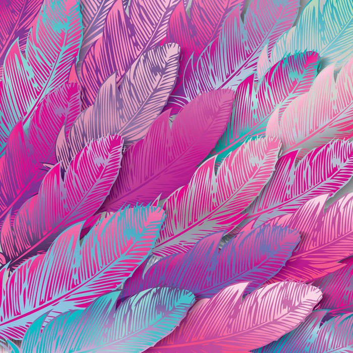 Carta da parati seamless sfondo di piume iridescenti rosa for Carta da parati vinile