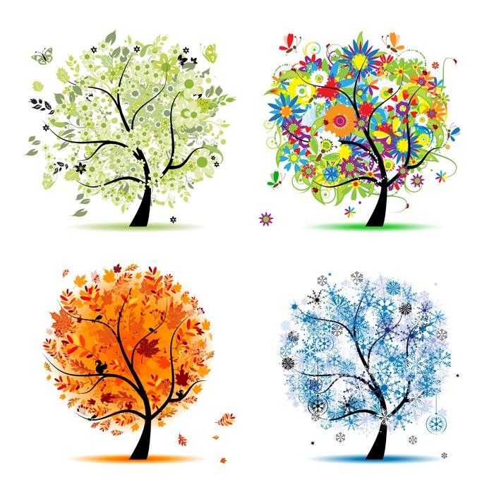 Sticker Pixerstick Quatre saisons - printemps, été, automne, hiver. Art trees - Sticker mural