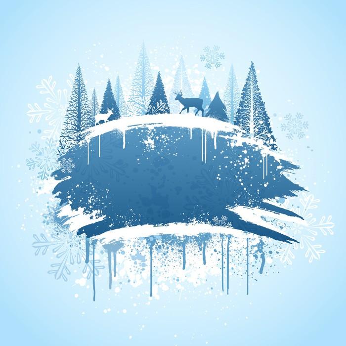 Vinylová Tapeta Zimní les grunge design - Mezinárodní svátky
