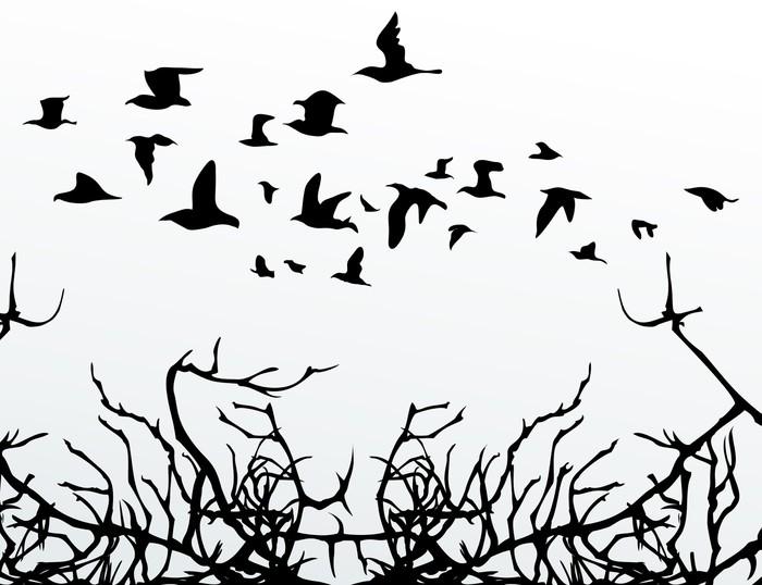 Papier peint oiseaux sur le bois pixers nous vivons for Papier peint sur bois