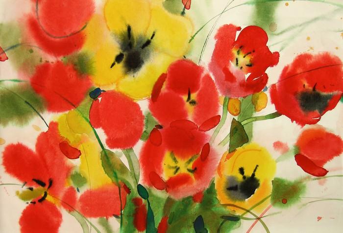 Vinylová Tapeta Květy tulipánů, akvarel - Květiny