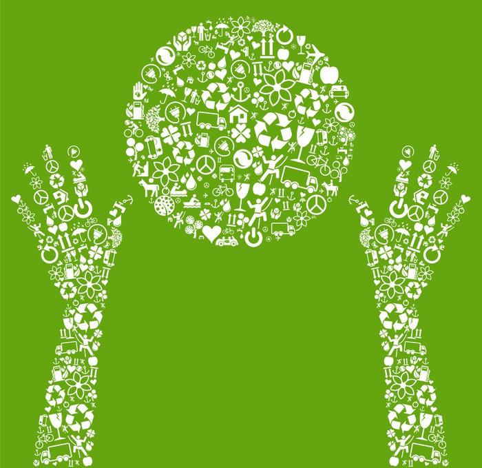 Vinylová Tapeta Ekologie ruce držet zelené koule vyrobená z eco ikony vektoru - Prvky podnikání