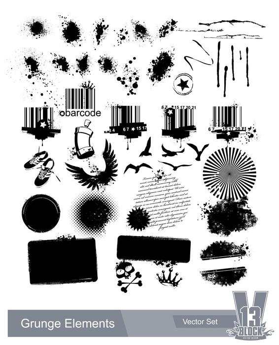 Vinylová Tapeta Sada špinavé grunge prvky -