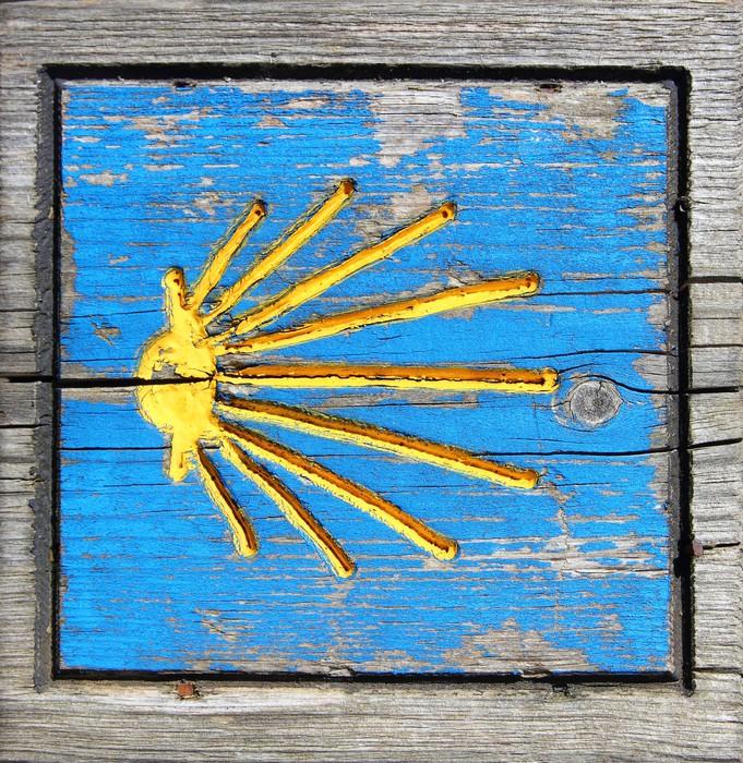 Nálepka Pixerstick Way of Saint James dřevěných poutníků dopravní značka - Náboženství