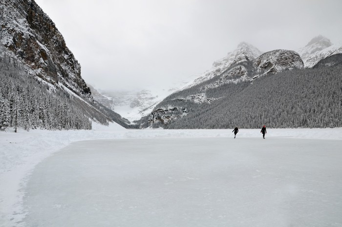 Ice Skating, Lake Louise Vinyl Wallpaper - Mountains